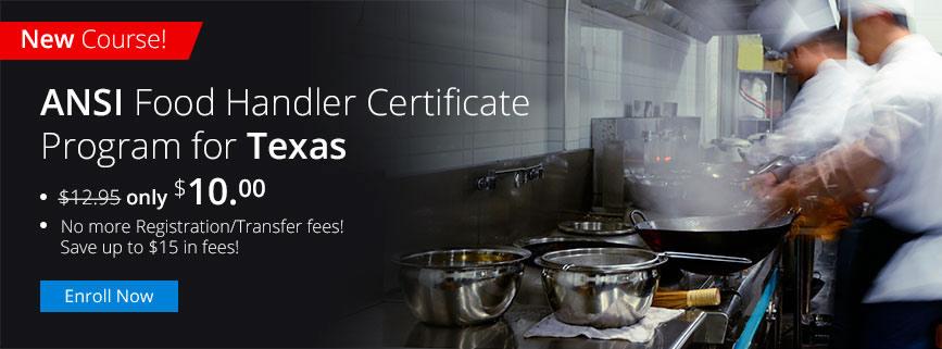ANSI Food Handler Certificate Program for Texas